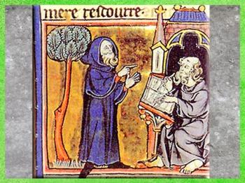 D'après le druide Merlin qui dicte un poème, manuscrit français, XIIIe siècle, art médiéval. (Marsailly/Blogostelle)