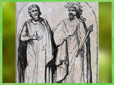D'après deux druides, bas-relief, cathédrale d'Autun, art médiéval, gravure de Bernard de Montfaucon, 1719 apjc, XVIIIe siècle. (Marsailly/Blogostelle)
