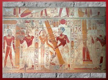 D'après la déesse Isis, Osiris et le pilier Djed, temple du roi Sethi Ier, Abydos, XIXe dynastie, Nouvel Empire, Égypte Ancienne. (Marsailly/Blogostelle)