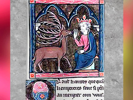 D'après Merlin changé en cerf face au roi, manuscrit anonyme, cycle de Lancelot et Graal, 1286 apjc, XIIIe siècle, art médiéval. (Marsailly/Blogostelle)