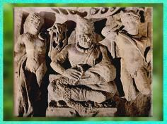 D'après Cernunnos coiffé de bois de cerf, Apollon et Mercure, relief, Ier-IIIe siècle apjc, Gaule Romaine. (Marsailly/Blogostelle)
