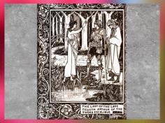 D'après le druide Merlin, la dame du Lac et le roi Arthur, Le Morte d'Arthur, Audrey Beardsley, XIXe siècle. (Marsailly/Blogostelle)