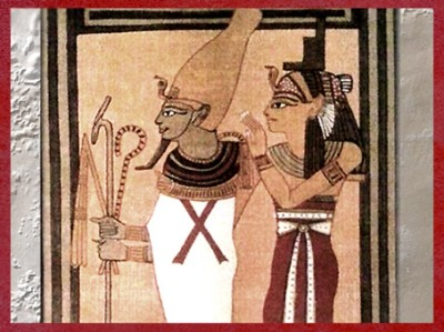 D'après la déesse Isis coiffée du trône, et son époux Osiris, tombe d'Ani, papyrus Livre des Morts, XIXe dynastie, Nouvel Empire, Égypte Ancienne. (Marsailly/Blogostelle)