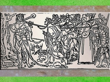 D'après Ogmios-Hercule, massue et chaînes, Champ Fleury de Geoffroy Tory, extrait, 1529 apjc, XVIe siècle. (Marsailly/Blogostelle)