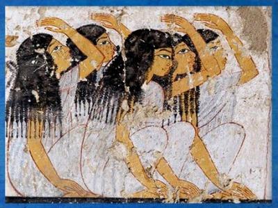 D'après des pleureuses, peinture, tombe de Ramose, XVIIIe dynastie, Thèbes, Louxor, Nouvel Empire, Égypte Ancienne. (Marsailly/Blogostelle)