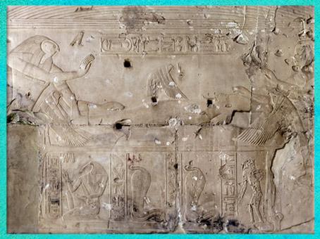 D'après la déesse Isis-oiseau milan, fécondée par Osiris, chapelle de Sokar-Osiris, temple funéraire de Sethi Ier, XIXe dynastie, Abydos, Nouvel Empire, Égypte Ancienne. (Marsailly/Blogostelle)