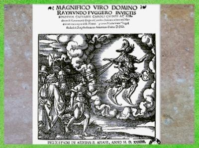 D'après Ogmios, Hercule celtique, dieu de l'éloquence, aux pieds ailés, P. Apianus & B. Amiantus, 1534 apjc, XVIe siècle. (Marsailly/Blogostelle)