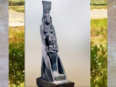 D'après la déesse Isis ailée, protectrice de son fils Horus, XXVIe dynastie, chapelle d'Osiris, Karnak, Basse Epoque, Égypte Ancienne. (Marsailly/Blogostelle)