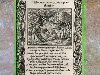 D'après Hercule-Ogmios, massue et chaînes, Emblemata d'Alciat, 1531 apjc, XVIe siècle. (Marsailly/Blogostelle)