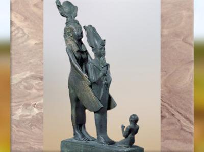 D'après la déesse Isis ailée, qui protège Horus, bronze, vers 663- 525 avjc, Basse Époque, Égypte Ancienne. (Marsailly/Blogostelle)