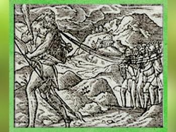 D'après Hercule-Ogmios, massue et chaînes, Emblemata d'Alciat, détail, 1531 apjc, XVIe siècle. (Marsailly/Blogostelle)