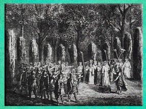 D'après une assemblée de druides, avec des hampes à sanglier, emblème du dieu Lug. (Marsailly/Blogostelle)