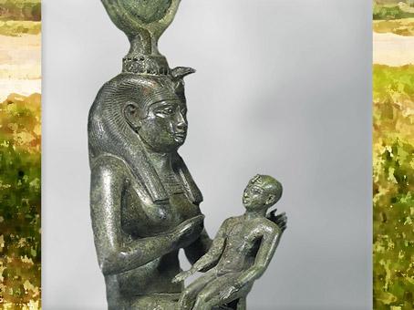 D'après la déesse Isis allaitant Horus, bronze, incrustations argent, VIIe siècle avjc,Basse Époque, Égypte Ancienne. (Marsailly/Blogostelle)