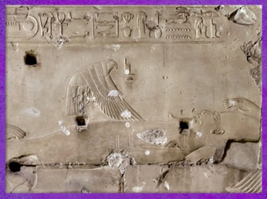 D'après la déesse Isis-oiseau milan, chapelle de Sokar-Osiris, temple funéraire de Sethi Ier, XIXe dynastie, Abydos, Nouvel Empire, Égypte Ancienne. (Marsailly/Blogostelle)
