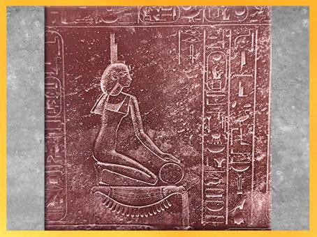 D'après la déesse Isis, le signe de l'or et l'anneau de l'infini, sarcophage, quartzite rouge, tombeau d'Hatchepsout, Vallée des Rois, Thèbes, Égypte Ancienne. (Marsailly/Blogostelle)