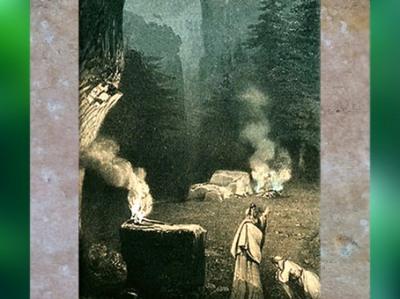 D'après la Forêt des Druides, détail, Bellini, opéra de Norma, scène du Théâtre Royal Italien à Paris, lithographie coloriée, vers 1835, inspirée de Kunstler Villeneuve, XIXe siècle. (Marsailly/Blogostelle)
