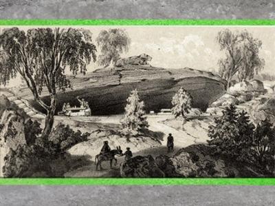 D'après L'Antre des druides, estampe, dit Album Genévrier, planche 27, XIXe siècle, château de Fontainebleau. (Marsailly/Blogostelle)