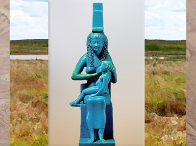 D'après la déesse Isis allaitant l'enfant Horus, faïence bleue, Époque Ptolémaïque,Égypte ancienne. (Marsailly/Blogostelle)