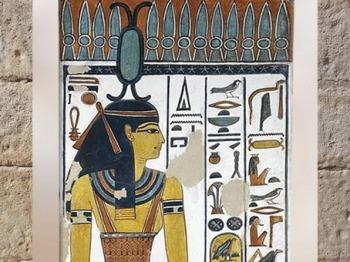 D'après la déesse Neith et sa coiffe en forme de navette, tombe de la reine Nefertari, épouse de Ramsès II, Vallée des reines, Nouvel Empire, Égypte ancienne. (Marsailly/Blogostelle)