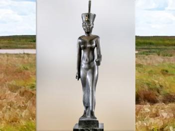 D'après la déesse ancestrale Neith, statuette, bronze incrusté d'or, vers 664 - 332 avjc, Basse-Époque, Égypte ancienne. (Marsailly/Blogostelle)