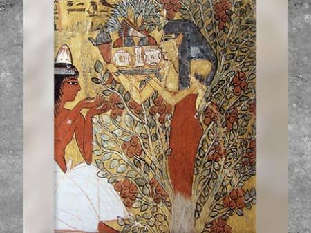 D'après la déesse nourricière et l'arbre de vie, tombe de Sennedjem et Iyneferti et XIXe dynastie, Nouvel Empire, Deir el-Medineh, Égypte ancienne. (Marsailly/Blogostelle)