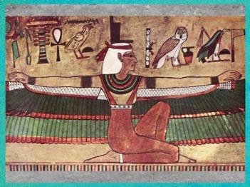 D'après la déesse Isis ailée, peinture murale, tombe de Séthi Ier, XIXe dynastie, Vallée des Rois, Nouvel Empire, Égypte Ancienne. (Marsailly/Blogostelle)