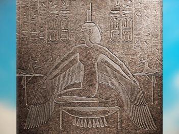 D'après la déesse Isis ailée, sarcophage de Ramsès III, Vallée des Rois, Thèbes, vers 1190 avjc, XXe dynastie, Nouvel Empire, Égypte Ancienne. (Marsailly/Blogostelle)