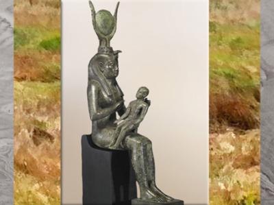 D'après la déesse Isis et Horus, bronze et incrustations d'argent, fin VIIIe siècle avjc, Troisième période intermédiaire, Égypte Ancienne. (Marsailly/Blogostelle)