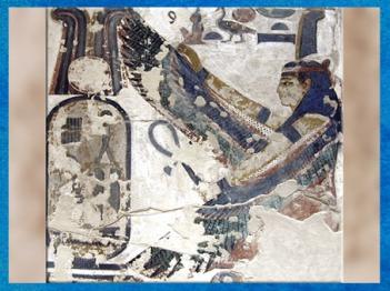 D'après la déesse Maât et cartouche royal, tombe de Séthi I, XIXe dynastie, Vallée des Rois, Nouvel Empire, Égypte Ancienne. (Marsailly/Blogostelle)