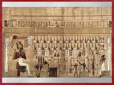 D'après la déesse Maât et Thôt, Pesée du cœur, Livre des Morts de Padiamonnebnésouttaouy, dit Papyrus Cadet, vers 332-30 avjc, Époque Ptolémaïque, Égypte Ancienne. (Marsailly/Blogostelle)
