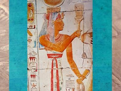 D'après la déesse Isis, coiffe vautour, sistre d'Hathor, et collier menat, chapelle d'Osiris, temple du roi Sethi Ier, Abydos, XIXe dynastie, Nouvel Empire, Égypte Ancienne. (Marsailly/Blogostelle)