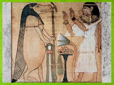 D'après Taouret-Thouéris, papyrus funéraire de Taruma, Livre pour Sortir au Jour (dit Livre des Morts), IIe siècle avjc, Époque ptolémaïque, Égypte Ancienne. (MarsaillyBlogostelle)