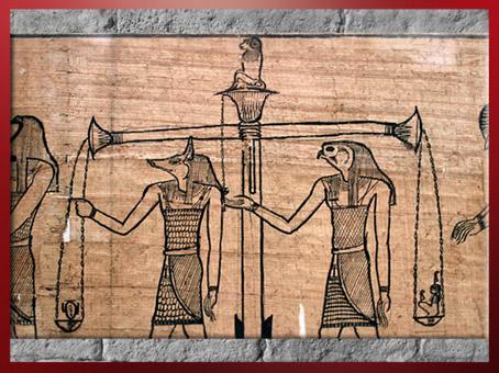D'après la déesse Maât le coeur du défunt, la balance, IIe siècle avjc, papyrus funéraire de Taruma, Époque ptolémaïque, Égypte Ancienne. (Marsailly/Blogostelle)