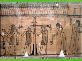 D'après la déesse Maât et la Pesée du cœur, Livre des Morts de Taruma, IIe siècle avjc, papyrus funéraire, Époque ptolémaïque, Égypte Ancienne. (Marsailly/Blogostelle)