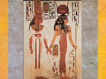 D'après la déesse Isis, cornes et disque solaire, tombe de Nefertari, Vallée des Reines, Thèbes, Louxor, XIXe dynastie, Nouvel Empire, Égypte Ancienne. (Marsailly/Blogostelle)