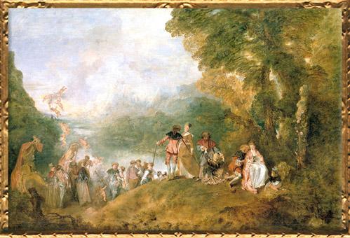 D'après le Pèlerinage à l'île de Cythère, Antoine Watteau, huile sur toile achevée en 1717, XVIIIe siècle apjc, période Rocaille, France. (Marsailly/Blogostelle)