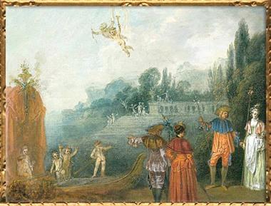 D'après Embarquement pour l'îlede Cythère, détail, Antoine Watteau, huile sur toile, vers 1709-1710, XVIIIe siècle apjc, période Rocaille, Francfort. (Marsailly/Blogostelle)