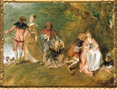 D'après les trois couples, Pèlerinage à l'île de Cythère, détail, d'Antoine Watteau, 1717, huile sur toile, huile sur toile, XVIIIe siècle apjc. (Marsailly/Blogostelle)