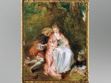 D'après le couple à l'éventail, Pélerinage à l'île de Cythère, Antoine Watteau, huile sur toile, 1717, XVIIIe siècle, période Rocaille. (Marsailly/Blogostelle)