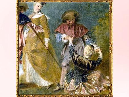 D'après le jeune couple se tenant par les mains, détail, Pèlerinage à l'île de Cythère, d'Antoine Watteau, 1717, huile sur toile, XVIIIe siècle apjc. (Marsailly/Blogostelle)