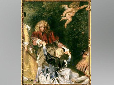D'après le couple se tenant par les mains, version de Berlin, Embarquement pour Cythère, Antoine Watteau, 1718-1719, château de Charlottenburg, XVIIIe siècle. (Marsailly/Blogostelle)