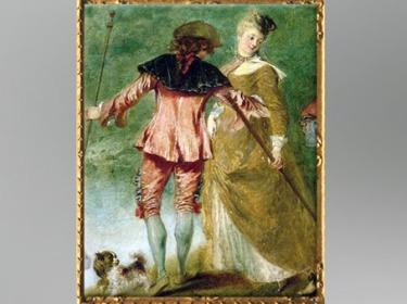 D'après un couple d'amants, Pèlerinage à l'île de Cythère, détail, Antoine Watteau, 1717, huile sur toile,XVIIIe siècle apjc,période Rocaille. (Marsailly/Blogostelle)