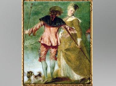 D'après un couple d'amants, Pèlerinage à l'île de Cythère, détail, Antoine Watteau, 1717, huile sur toile, XVIIIe siècle apjc, période Rocaille. (Marsailly/Blogostelle)