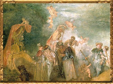 D'après la nacelle, Pèlerinage à l'île de Cythère, Antoine Watteau, huile sur toile, 1717, XVIIIe siècle, période Rocaille. (Marsailly/Blogostelle)