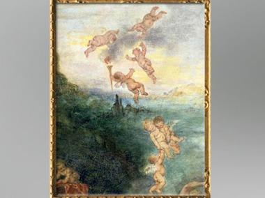 D'après la nuée des cupidons, Pèlerinage à l'île de Cythère, détail, Antoine Watteau, 1717, huile sur toile, XVIIIe siècle apjc,période Rocaille. (Marsailly/Blogostelle)