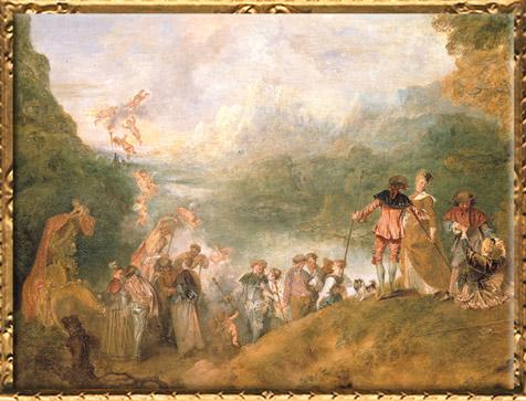 D'après le Pèlerinage à l'île de Cythère, détail, Antoine Watteau, 1717, huile sur toile, XVIIIe siècle apjc, période Rocaille, France. (Marsailly/Blogostelle)