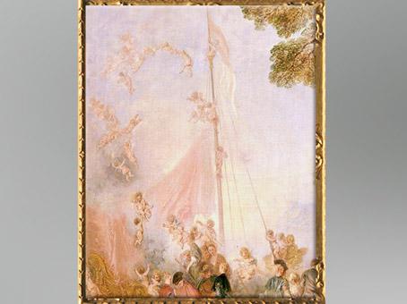 D'après la grand-voile, Embarquement pour Cythère, Antoine Watteau, 1718-1719, château de Charlottenburg, Berlin, XVIIIe siècle apjc,période Rocaille. (Marsailly/Blogostelle)