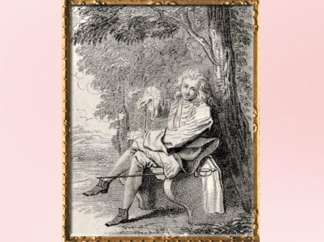D'après un galant, comédie théâtrale de Dancourt, Les Trois Cousines, 1700, Watteau, gravure de Deplace, XVIIIe siècle, période Rocaille. (Marsailly/Blogostelle)