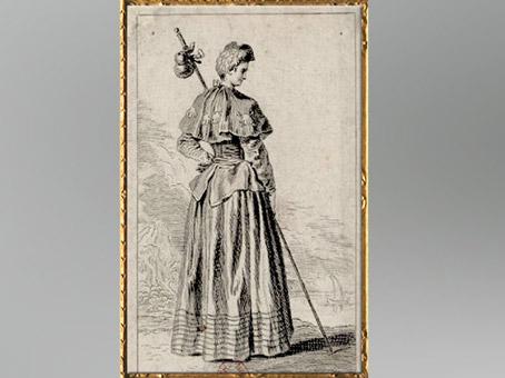 D'après une dame, Pèlerine, comédie théâtrale de Dancourt, Les Trois Cousines, 1700,Watteau, gravure de Deplace, XVIIIe siècle, XVIIIe siècle, période Rocaille. (Marsailly/Blogostelle)