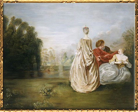 D'après Les Deux Cousines, Antoine Watteau, 1716, XVIIIe siècle, période Rocaille. (Marsailly/Blogostelle)